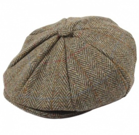 Dents Harris Tweed 8-Piece Cap - Olive