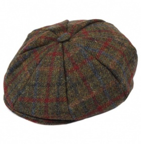 Dents Harris Tweed 8-Piece Cap - Sage
