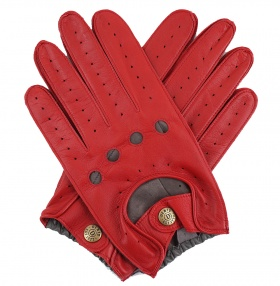 Dents Red & Grey Two Tone Leather Driving Gloves