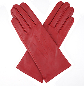 Dents Ladies Silk Lined Leather Gloves - Berry