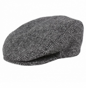 Dents Harris Tweed Flat Cap - Charcoal