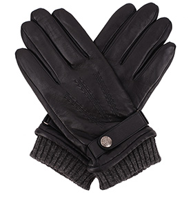 Dents Men's Touch Screen Leather Gloves - Henley - Black