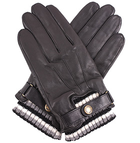 Dents Men's Leather Gloves - Knitted Cuff - Black
