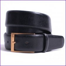 Black Embossed Leather Belt by Dents