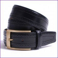 Brogue Detailed Black Leather Belt by Dents