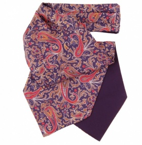 Silk Cravat - Navy & Red Paisley Print
