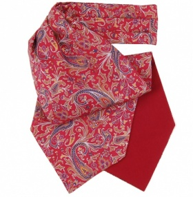 Fort & Stone Silk Cravat - Red & Blue Paisley Print