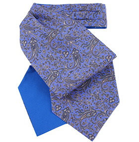 Fort & Stone - Blue & Silver Grey Silk Cravat