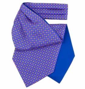 Blue Silk Cravat with Pink & Orange Polkadots