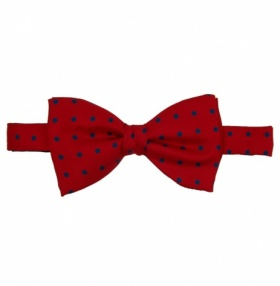 Fort & Stone Ready Tied Bow-Tie - Red with Blue Polkadot