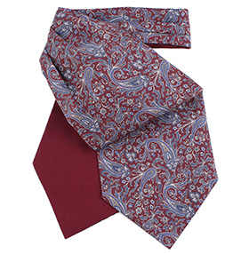 Fort & Stone - Burgundy & Silver Grey Silk Cravat