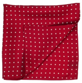 Dark Red and Cream Polka-dot Silk Handkerchief