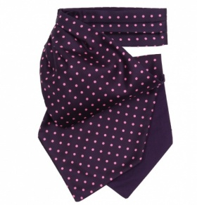 Navy with Pink Polkadot Silk Cravat