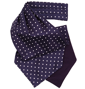 Navy and White Polkadot Silk Cravat