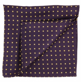 Navy & Yellow Polka-dot Silk Handkerchief