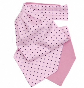 Pale Pink Cravat with Navy Polka Dots