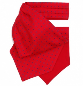 Red with Blue Polkadot Silk Cravat