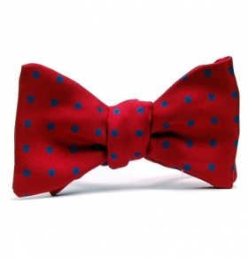 Self-Tie Red and Blue Polkadot Bow Tie