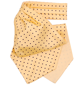 Yellow with Navy Polkadot Silk Cravat