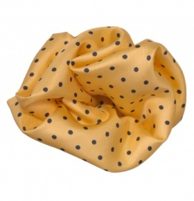 Yellow & Navy Polka-dot Silk Handkerchief