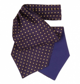 Navy and Yellow Polkadot Silk Cravat