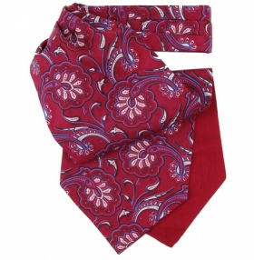 Dark Red & Blue Floral Paisley Silk Cravat