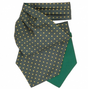 Emerald Green and Yellow Polkadot Silk Cravat