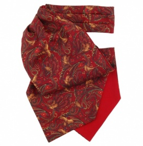 Red Pheasant Print Silk Cravat