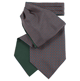 Fort & Stone Silk Cravat - Green Micro Paisley