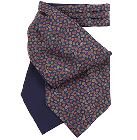 Fort & Stone Silk Cravat - Navy Blue Mini Paisley