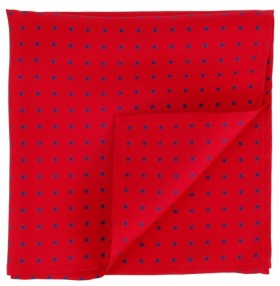 Red with Blue Polka-dot Silk Handkerchief
