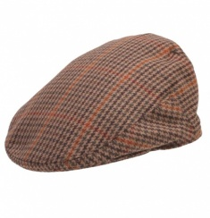 Deep Back Brown Tweed Flat Cap