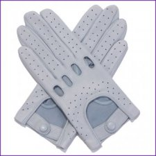 Ladies Pale Blue Leather Driving Gloves