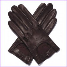 Ladies Brown Leather Driving Gloves