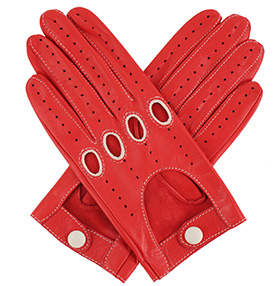 Womens Leather Driving Gloves - Red