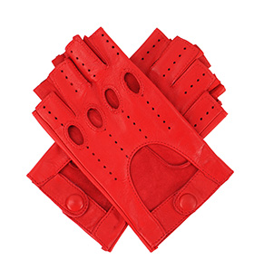 Womens Leather Fingerless Driving Gloves - Red