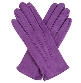 Womens Lilac Suede Gloves - Silk Lining