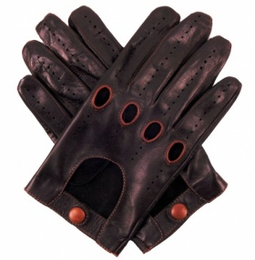 Men's Leather Driving Gloves - Black & Tan