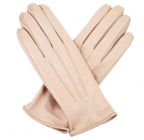 Womens Beige Leather Gloves - Cashmere Lining