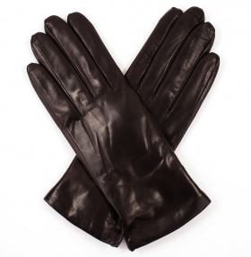 Womens Ebony Leather Gloves - Cashmere Lining
