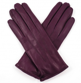 Womens Plum Leather Gloves - Cashmere Lining