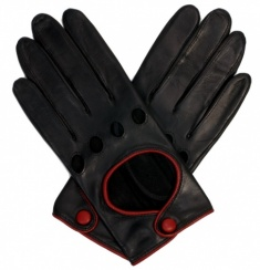 Ladies Black with Red Piping Driving Gloves