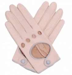 Ladies Almond with Blue Piping Driving Gloves