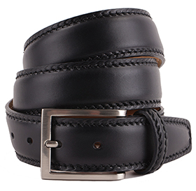 Men's Belt - Marcapunto Stitched Calf Leather - Black