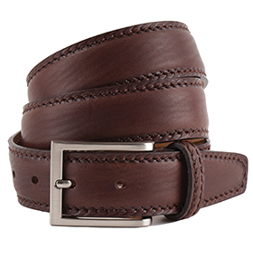 Men's Belt - Marcapunto Stitched Calf Leather - Brown