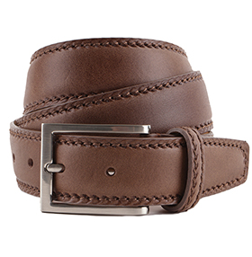 Men's Belt - Marcapunto Stitched Calf Leather - Olive