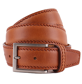 Men's Belt - Marcapunto Stitched Calf Leather - Tan