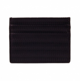 Credit Card Case - Embossed Black Leather