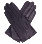Men's Silk Lined Black Gloves - In-seam