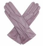 Ladies Silk Lined Grey Leather Gloves